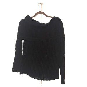 Elie Tahari Black wool fringe sweater size large